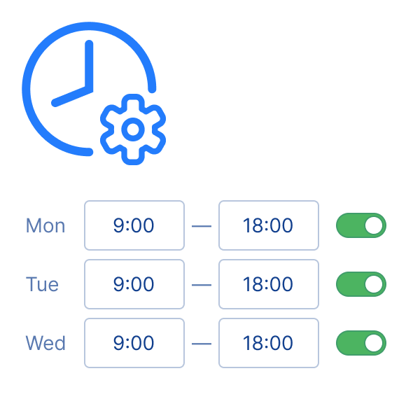 Easily configure your custom business hours